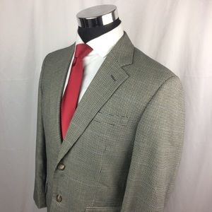 Jos A Bank Mens 40S Blazer Silk Blend Houndstooth